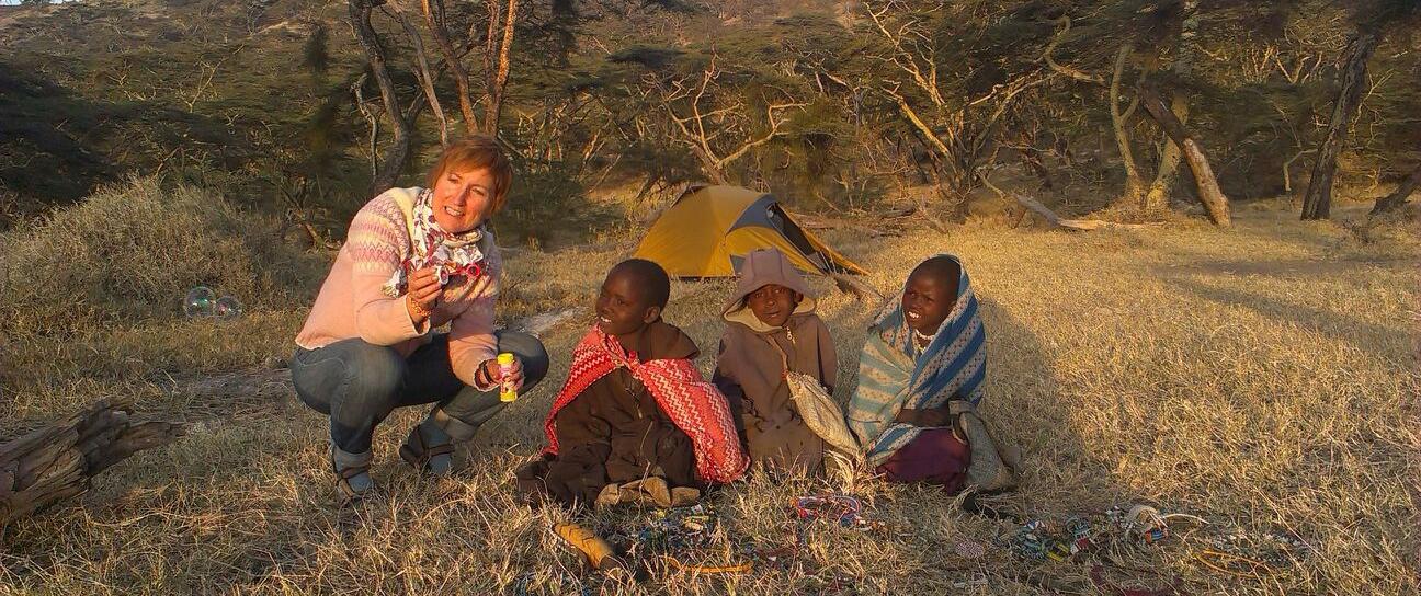 Ngorongoro playing with children